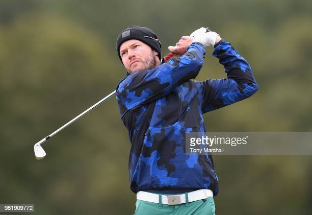 Kalle Samooja of Finland plays his first shot on the 1st tee during Day Three of the SSE Scottish Hydro Challenge hosted by Macdonald Hotels and...