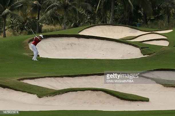 Kalle Samooja of Finland plays his second shot on the 11th hole during round two of The Open Championship International Final Qualifying Asia at...