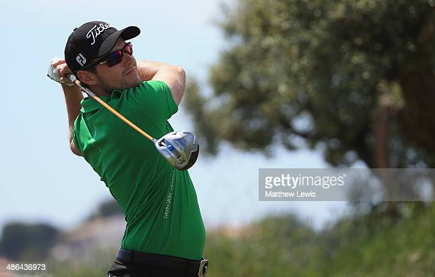 Kalle Samooja of Finland tees off on the 1st hole during day one of the Challenge de Catalunya at the Lumine Golf and Beach Club on April 24 2014 in...