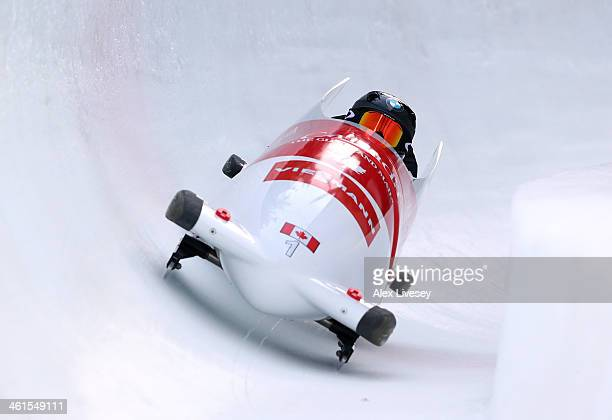 Kallie Humphries and Heather Moyse of Canada during a training run for the Women's Bobsleigh event at the Viessmann FIBT Bobsleigh World Cup at...