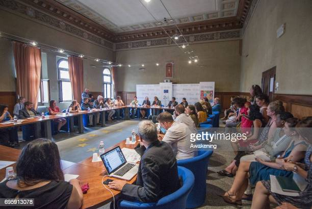 Kalliope AgapiouJosephides Letitia Anderson Manfred Nowak Mirza Dinnayi and Lamya Haji Bashar attends at the conference presentation at Eiuc at...