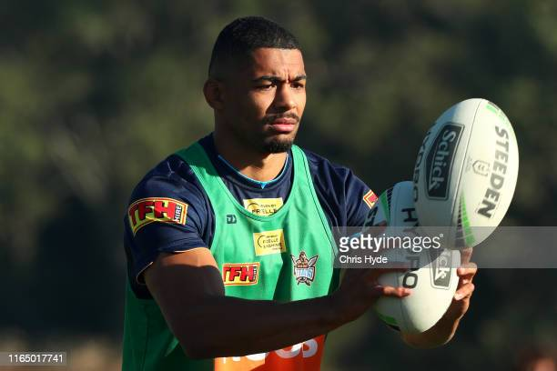 Kallum Watkins during a Gold Coast Titans NRL training session at Titans High Performance Centre on July 30, 2019 in Gold Coast, Australia.