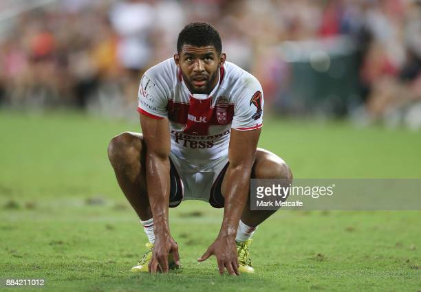 Kallum Watkins of England rests during the 2017 Rugby League World Cup Final between the Australian Kangaroos and England at Suncorp Stadium on...