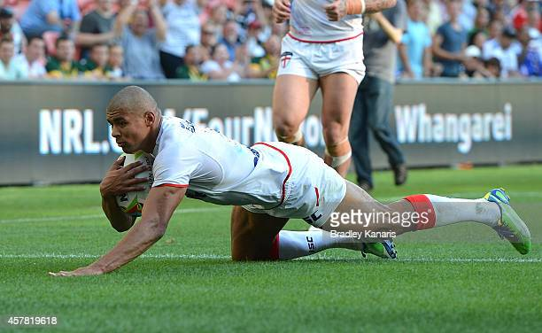 Kallum Watkins of England scores a try during the Four Nations match between England and Samoa at Suncorp Stadium on October 25 2014 in Brisbane...