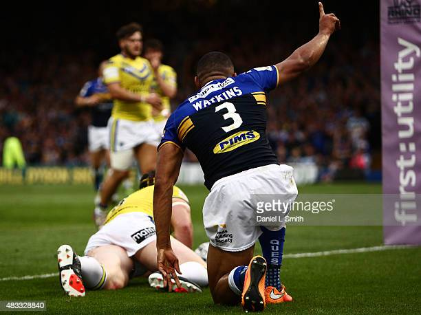 Kallum Watkins of Leeds Rhinos after scoring a try during the Round 1 match of the First Utility Super League Super 8s between Leeds Rhinos and...