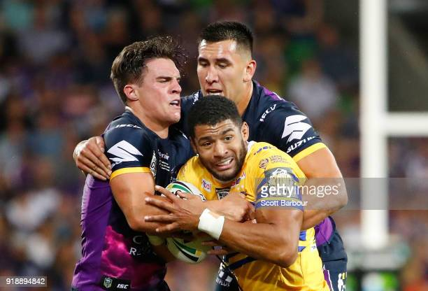 Kallum Watkins of Leeds Rhinos is tackled during the World Club Challenge match between the Melbourne Storm and the Leeds Rhinos at AAMI Park on...