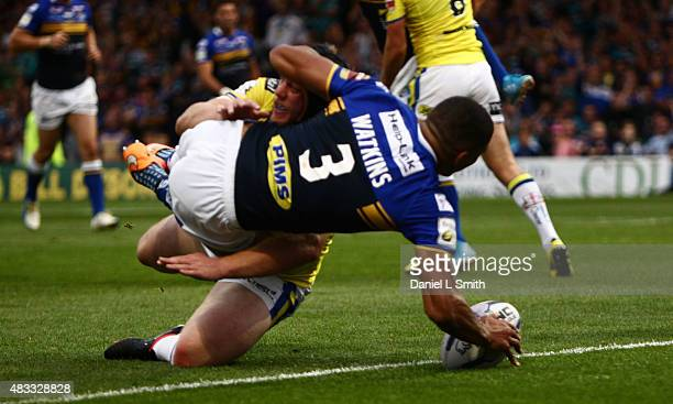 Kallum Watkins of Leeds Rhinos scores a try during the Round 1 match of the First Utility Super League Super 8s between Leeds Rhinos and Warrington...