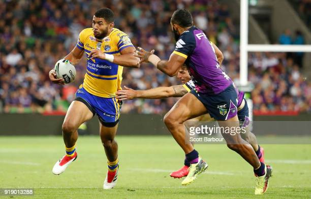 Kallum Watkins of the Leeds Rhinos runs with the ball during the World Club Challenge match between the Melbourne Storm and the Leeds Rhinos at AAMI...