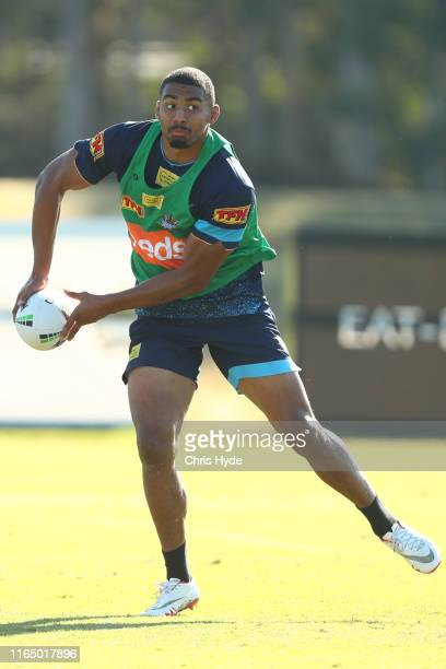 Kallum Watkins passes during a Gold Coast Titans NRL training session at Titans High Performance Centre on July 30, 2019 in Gold Coast, Australia.