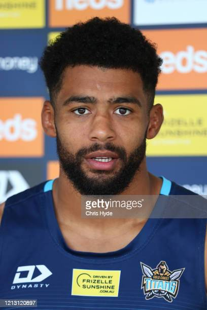 Kallum Watkins speaks to media during a Gold Coast Titans NRL media opportunity at Titans High Performance Centre on March 18, 2020 in Gold Coast,...
