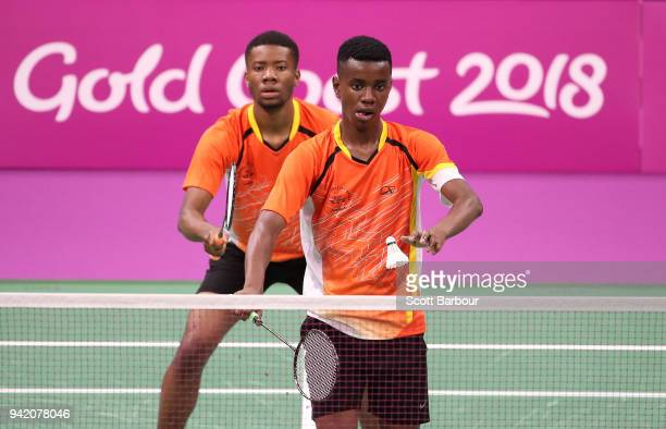 Kalombo Mulenga and Chongo Mulenga of Zambia compete against Aatish Lubah and Christopher Jean Paul of Mauritius during the Badminton Mixed Team...