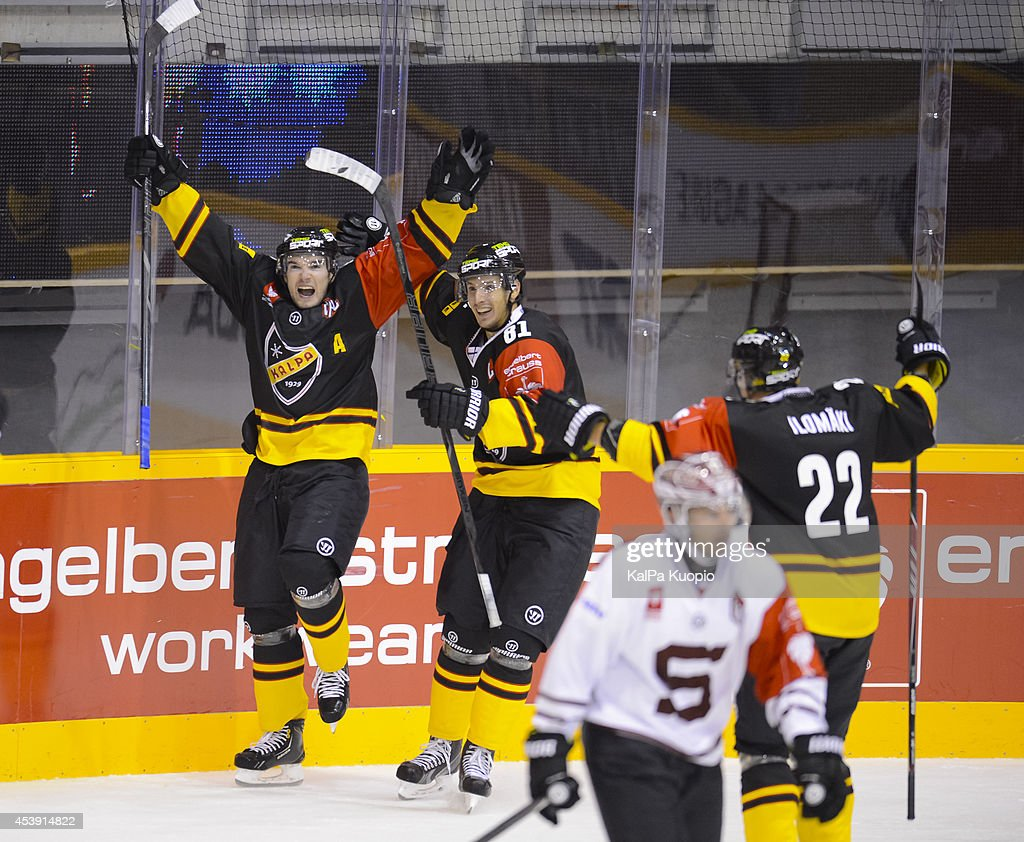 Kalpa Celebrates scoring during the Champions Hockey League game between KalPa Kuopio and Sparta Prague at Data Group Areena on August 21, 2014 in Kuopio, Finland.