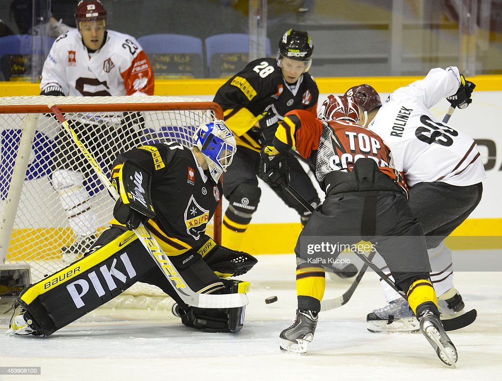 Kalpa's defence reacts during first period during the Champions Hockey League game between KalPa Kuopio and Sparta Prague at Data Group Areena on August 21, 2014 in Kuopio, Finland.