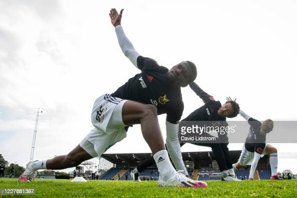 Kalpi Ouattara of Ostersunds FK during warm up ahead of the Allsvenskan match between Varbergs BoIS and Ostersunds FK at Varberg Energi Arena on...