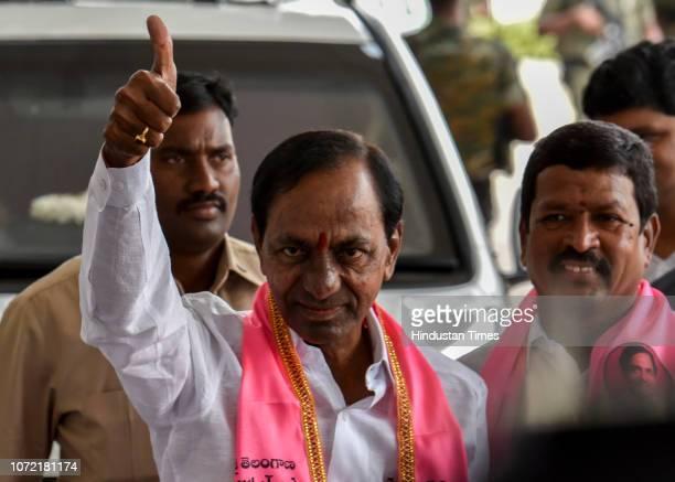 Kalvakuntla Chandrashekar Rao outside TRS Bhavan Banjara Hills on December 12 2018 in Hyderabad India The results of the Telangana assembly election...