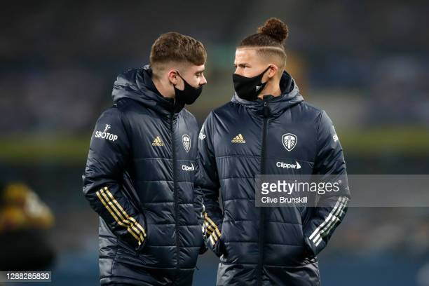 Kalvin Phillips and Leif Davis of Leeds United inspect the pitch prior to the Premier League match between Everton and Leeds United at Goodison Park...