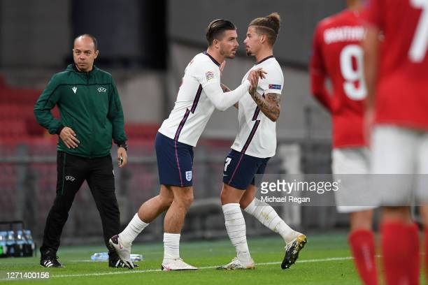 Kalvin Phillips is substituted for team mate Jack Grealish of England during the UEFA Nations League group stage match between Denmark and England at...