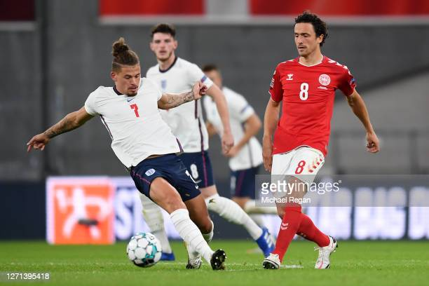 Kalvin Phillips of England and Thomas Delaney of Denmark battle for the ball during the UEFA Nations League group stage match between Denmark and...
