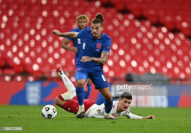 Kalvin Phillips of England battles for possession with Thomas Delaney of Denmark during the UEFA Nations League group stage match between England and...