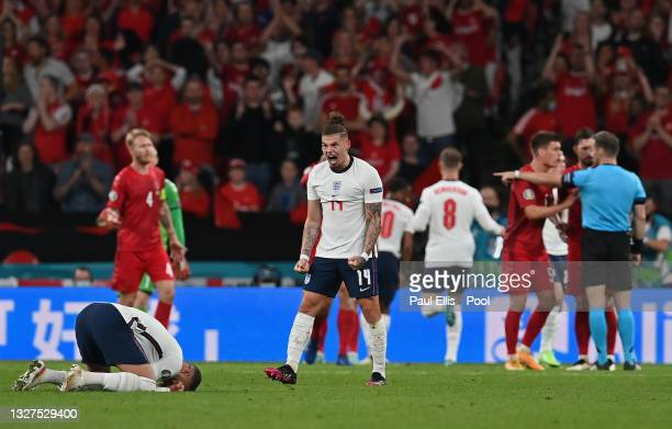 Kalvin Phillips of England celebrates after England are awarded a penalty during the UEFA Euro 2020 Championship Semi-final match between England and...