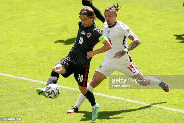 Kalvin Phillips of England closes down Luka Modric of Croatia during the UEFA Euro 2020 Championship Group D match between England and Croatia on...