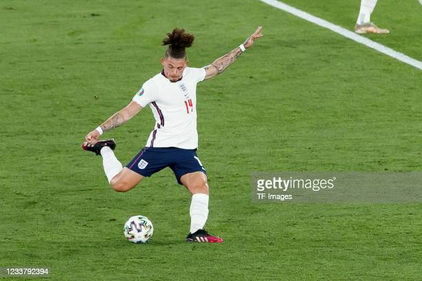 Kalvin Phillips of England controls the ball during the UEFA Euro 2020 Championship Quarter-final match between Ukraine and England at Olimpico...