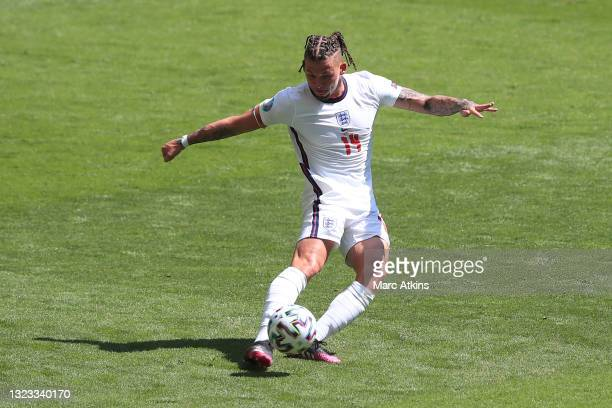 Kalvin Phillips of England crosses the ball during the UEFA Euro 2020 Championship Group D match between England and Croatia at Wembley Stadium on...