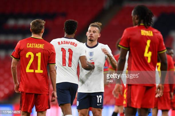 Kalvin Phillips of England interacts with Marcus Rashford of England after the UEFA Nations League group stage match between England and Belgium at...