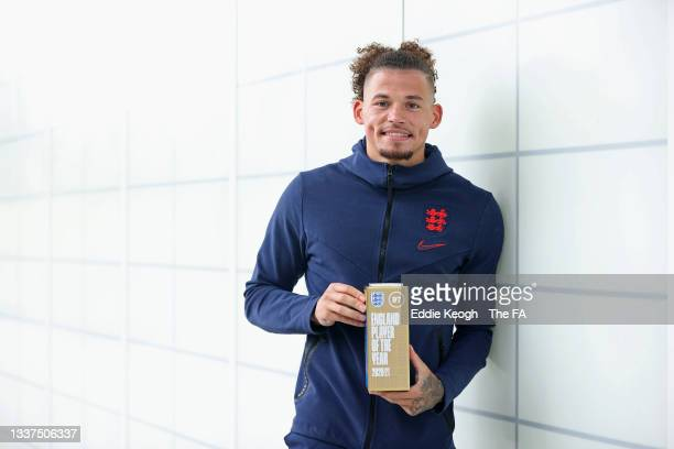 Kalvin Phillips of England poses with the award for the 2020-21 BT England Men's Player of the Year at St Georges Park on August 31, 2021 in...