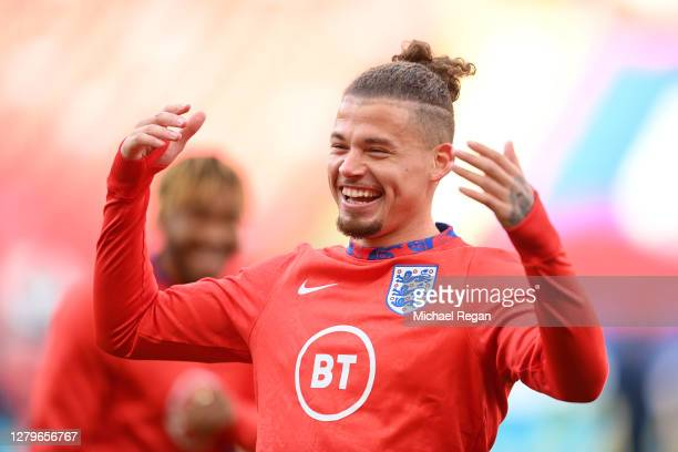 Kalvin Phillips of England reacts during the warm up ahead of the UEFA Nations League group stage match between England and Belgium at Wembley...