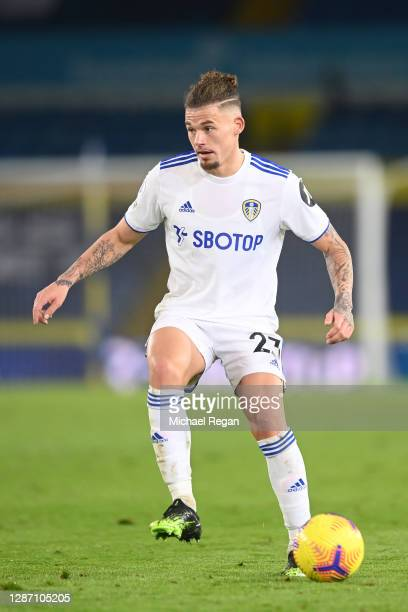 Kalvin Phillips of Leeds in action during the Premier League match between Leeds United and Arsenal at Elland Road on November 22, 2020 in Leeds,...