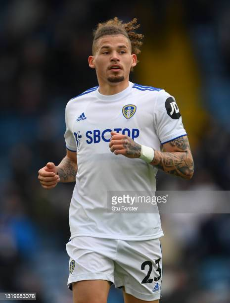 Kalvin Phillips of Leeds in action during the Premier League match between Leeds United and West Bromwich Albion at Elland Road on May 23, 2021 in...