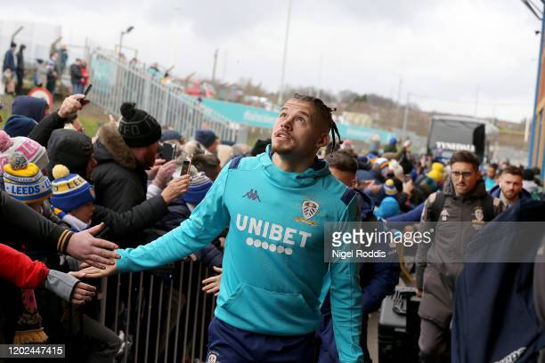 Kalvin Phillips of Leeds United arrives ahead of the Sky Bet Championship match between Leeds United and Reading at Elland Road on February 22, 2020...