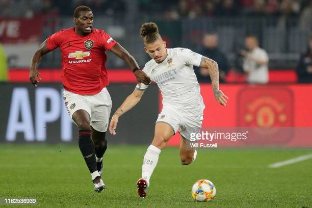 Kalvin Phillips of Leeds United controls the ball during a preseason friendly match between Manchester United and Leeds United at Optus Stadium on...