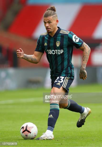 Kalvin Phillips of Leeds United during the Premier League match between Sheffield United and Leeds United at Bramall Lane on September 27, 2020 in...