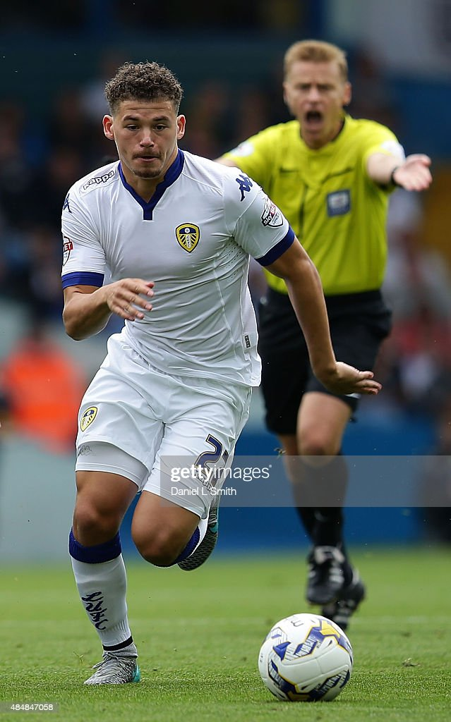 Kalvin Phillips of Leeds United FC controls the ball during the Sky Bet Championship match between Leeds United and Sheffield Wednesday at Elland Road on August 22, 2015 in Leeds, England.