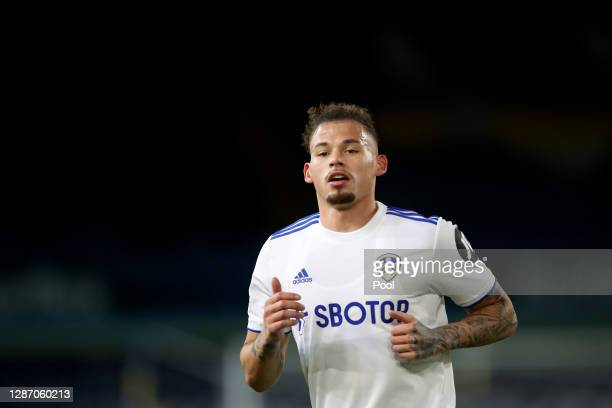 Kalvin Phillips of Leeds United in action during the Premier League match between Leeds United and Arsenal at Elland Road on November 22, 2020 in...