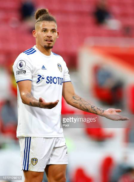 Kalvin Phillips of Leeds United reacts during the Premier League match between Liverpool and Leeds United at Anfield on September 12 2020 in...