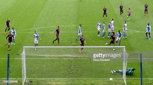 Kalvin Phillips of Leeds United scores from a direct free kick during the Sky Bet Championship match between Blackburn Rovers and Leeds United at...