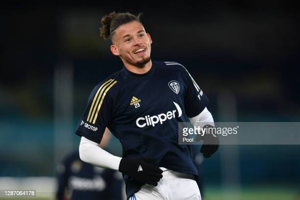 Kalvin Phillips of Leeds United warms up prior to kick off during the Premier League match between Leeds United and Arsenal at Elland Road on...