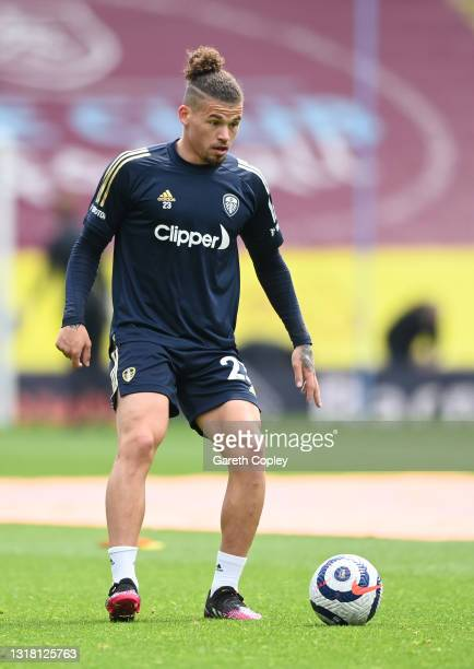 Kalvin Phillips of Leeds United warms up prior to the Premier League match between Burnley and Leeds United at Turf Moor on May 15, 2021 in Burnley,...