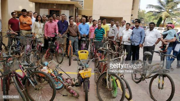 Kalyan NGO collecting old bicycles from societies and they will be distributing in adivasi village at Vangani on March 14 2018 in Mumbai India