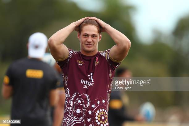 Kalyn Ponga looks on during a Queensland Maroons State of Origin training session at Sanctuary Cove on June 21 2018 in Brisbane Australia