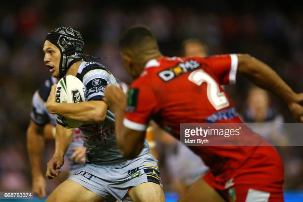 Kalyn Ponga of the Cowboys makes a break during the round seven NRL match between the St George Illawarra Dragons and the North Queensland Cowboys at...