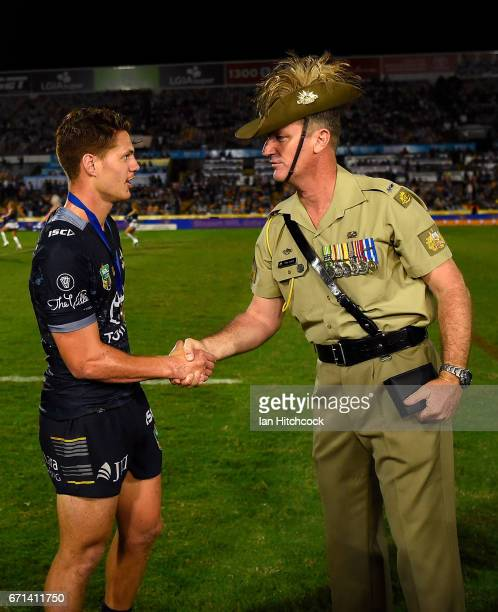 Kalyn Ponga of the Cowboys receives the ANZAC medal after winning the man of the match during the round eight NRL match between the North Queensland...