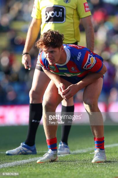 Kalyn Ponga of the Knights about to kick for goal during the round 15 NRL match between the Newcastle Knights and the Melbourne Storm at McDonald...