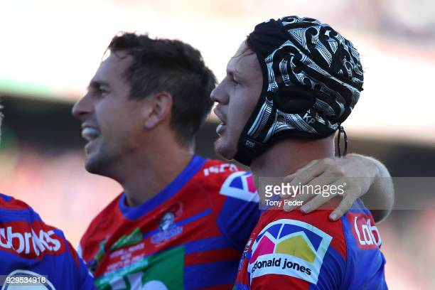 Kalyn Ponga of the Knights celebrates a try during the round one NRL match between the Newcastle Knights and the Manly Sea Eagles at McDonald Jones...
