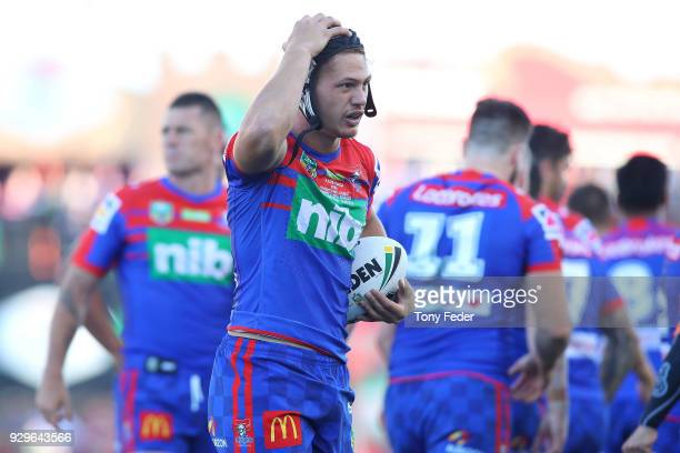 Kalyn Ponga of the Knights during the round one NRL match between the Newcastle Knights and the Manly Sea Eagles at McDonald Jones Stadium on March 9...