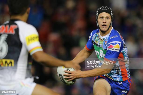 Kalyn Ponga of the Knights in action during the round 10 NRL match between the Newcastle Knights and the Penrith Panthers at McDonald Jones Stadium...