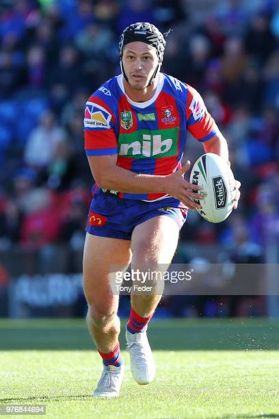 Kalyn Ponga of the Knights in action during the round 15 NRL match between the Newcastle Knights and the Melbourne Storm at McDonald Jones Stadium on...
